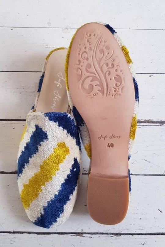 Handmade Ikat Silk Velvet Mule shoes for Women