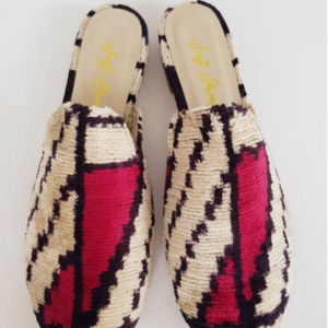 Handmade Ikat silk velvet Mule shoes
