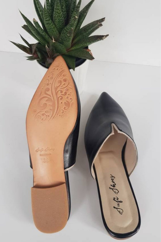 Handmade Leather V Pointed Toe Mule Shoes
