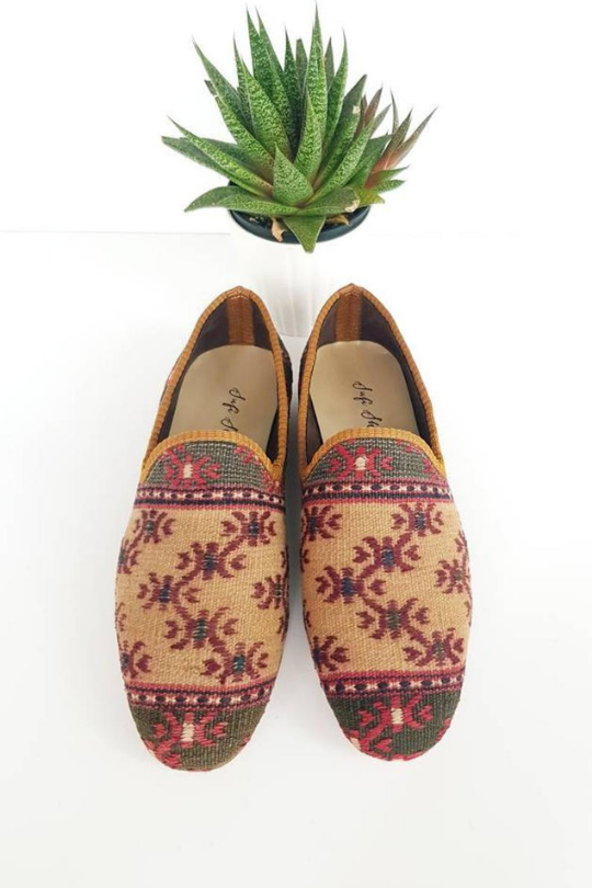 Men Handmade vintage Kilim Shoes loafer
