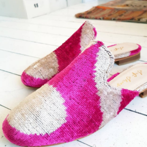 Mule Shoes for Women Handmade Silk Velvet Ikat