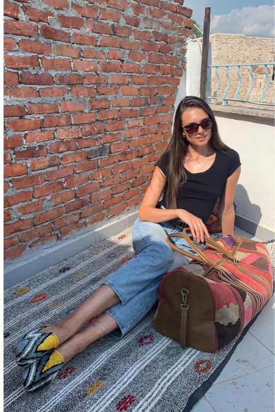 Ikat Silk Velvet Mule Shoes Handmade for Woman