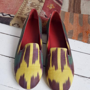 Women Ikat Pure Silk Mule Shoes