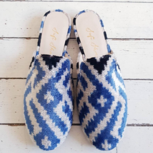 Women Mule Shoes Ikat Silk