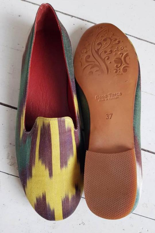 Women Ikat Pure Silk Mule Shoes