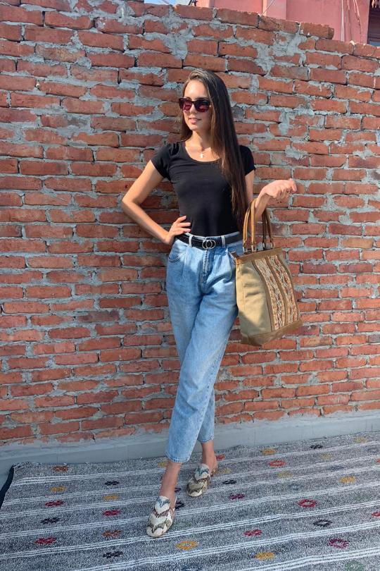 Ikat Velvet Sandal Slipper Shoes for Women