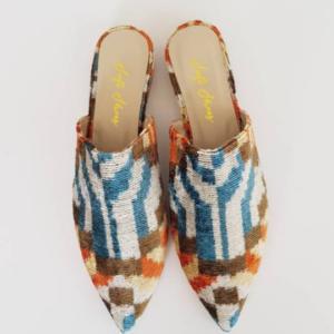 Pointed Mule Shoes for Women Ikat Silk Velvet